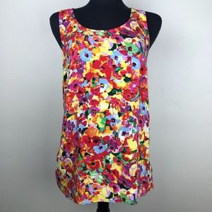 CAbi Sleeveless Floral Multicolor Top Size M